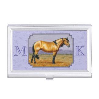 Wild Horse Buckskin Stallion Purple Business Card Cases