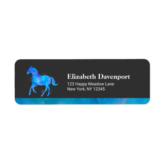Wild Horse in Blue and Purple Watercolor Return Address Label