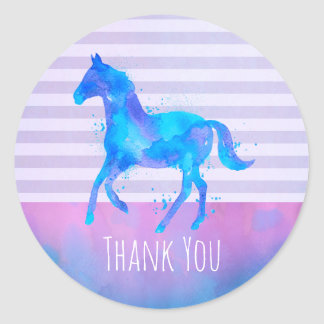 Wild Horse in Blue and Purple Watercolor Thank You Round Sticker