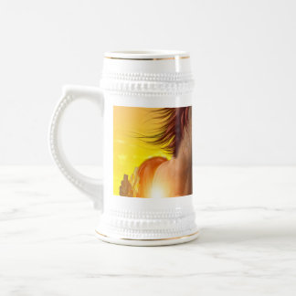 Wild horse playing on the meadow mugs