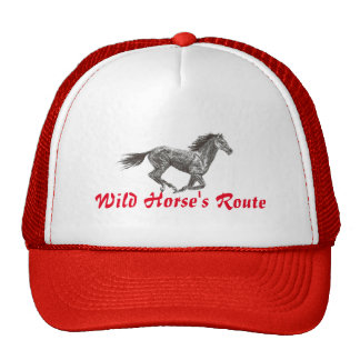 Wild Horse Route Style Trucker Cap in Red
