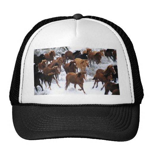 Wild Horse Running on Snow Trucker Hats