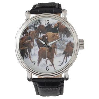 Wild Horse Running on Snow Wrist Watches