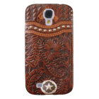"""Wild Horse"" Western Tooled Leather Look IPhone 3 Galaxy S4 Case"