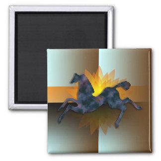 Wild Horses #13 Twilight Mist Square Magnet