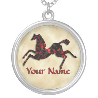 Wild Horses #21 Ruby and Ashes Round Pendant Necklace