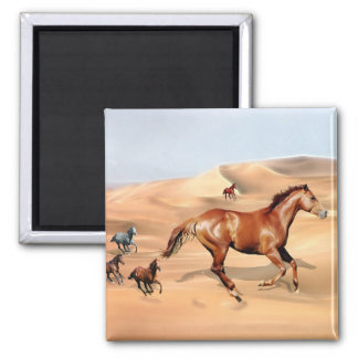 Wild horses and sand dunes square magnet
