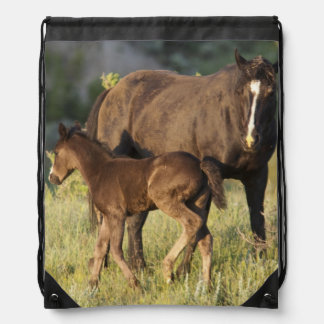 Wild Horses at Theodore Roosevelt National Park Drawstring Bag