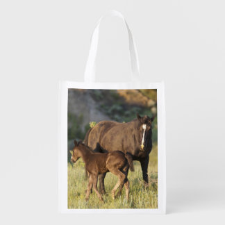 Wild Horses at Theodore Roosevelt National Park Reusable Grocery Bag