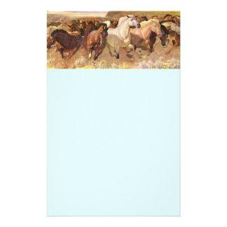Wild Horses Horse Letterhead Stationery Light Blue
