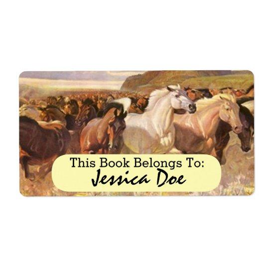 Wild Horses Horse Run Art Personal Bookplate Label