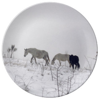Wild Horses In Snow Decorative Porcelain Plate