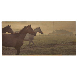 Wild horses wood USB 2.0 flash drive