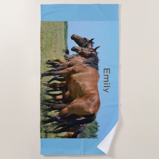 Wild Horses Out West Beach Towel
