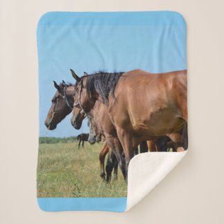 Wild Horses Out West Sherpa Blanket