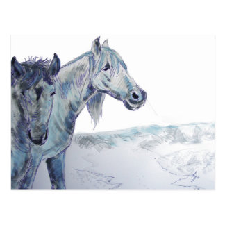 Wild Horses Painting  'Taking The Air III' Postcard