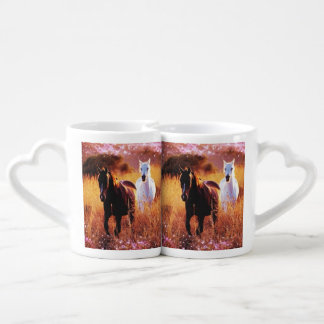 Wild horses running free in field couples mug