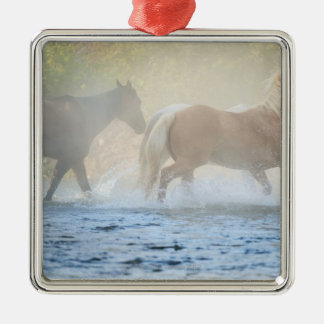 Wild horses running through water Silver-Colored square decoration