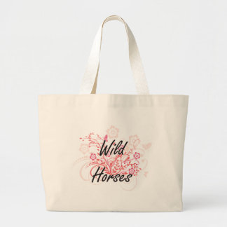 Wild Horses with flowers background Jumbo Tote Bag