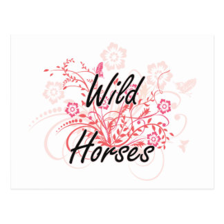 Wild Horses with flowers background Postcard