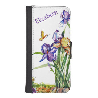 Wild Irises - Personalized with Your Name iPhone SE/5/5s Wallet Case