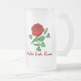 Wild Irish Rose Frosted Glass Mug