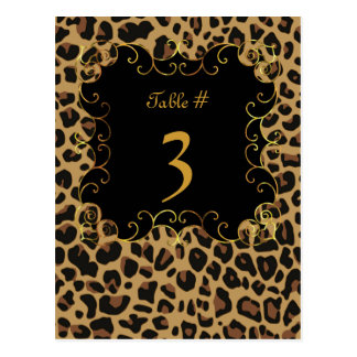 Wild Jaguar Print Wedding Table Number Card Postcard