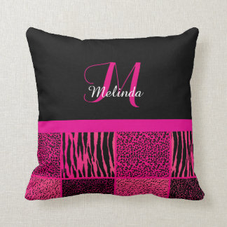 Wild Jungle Animal Patterns in Hot Pink | Monogram Cushion