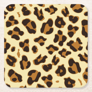 Wild leopard animal skin print brown square paper coaster