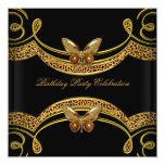 Wild Leopard Black Gold Birthday Party Personalized Announcement