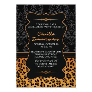 Wild Leopard & Fancy Damask Bachelorette Party 13 Cm X 18 Cm Invitation Card