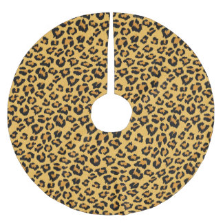 Wild Leopard Print Faux Fur Safari Pattern Brushed Polyester Tree Skirt