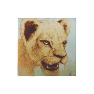 Wild Lion, Big Cats Marble Stone Magnet