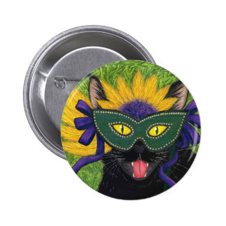 Wild Mardi Gras Cat Party New Orleans Mask Art But 6 Cm Round Badge