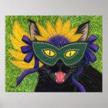 Wild Mardi Gras Cat Party New Orleans Mask Art Pri Poster