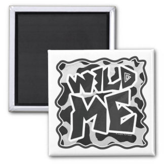 Wild Me Cow Black and White Square Magnet
