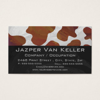 Wild me Cow Brown and White Print Business Card
