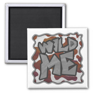 Wild me Cow Brown and White Print Square Magnet