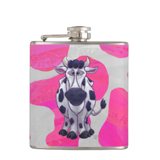 Wild Me Cow Pink and White Hip Flask