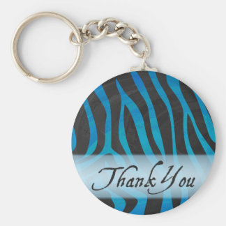 Wild Me Zebra Pattern Thank You Basic Round Button Keychain