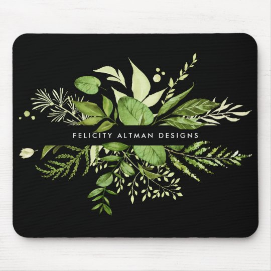 Wild Meadow | Black & Green Botanical Personalised Mouse Mat
