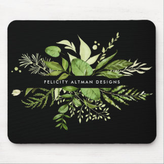 Wild Meadow | Black & Green Botanical Personalized Mouse Mat