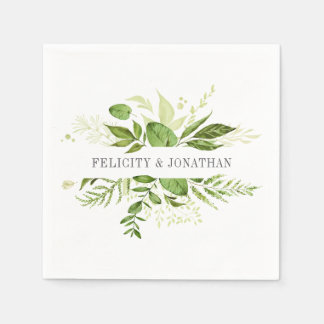 Wild Meadow | Botanical Personalized Wedding Paper Napkins