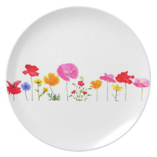 wild meadow flowers dinner plate