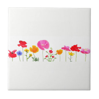 wild meadow flowers small square tile