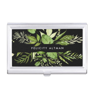 Wild Meadow | Green & Black Personalized Business Card Holder