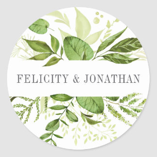 Wild Meadow | Green Botanical Wedding Classic Round Sticker