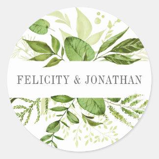 Wild Meadow   Green Botanical Wedding Round Sticker