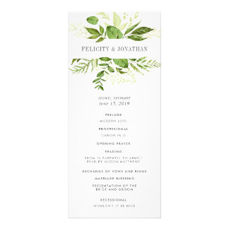 Wild Meadow Wedding Ceremony Program Rack Card