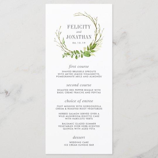 Wedding Food Menus: Wild Meadow Wedding Menu Card